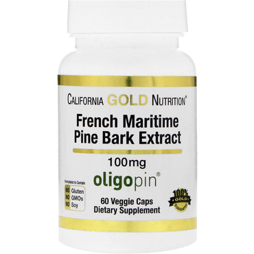 California Gold Nutrition French Maritime Pine Bark Extract 100 mg Antioxidant Polyphenol 60 Veggie Caps