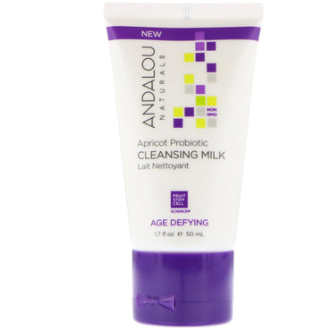 Andalou Naturals, Cleansing Milk, Apricot Probiotic, Age Defying, 1.7 fl oz (50 ml)
