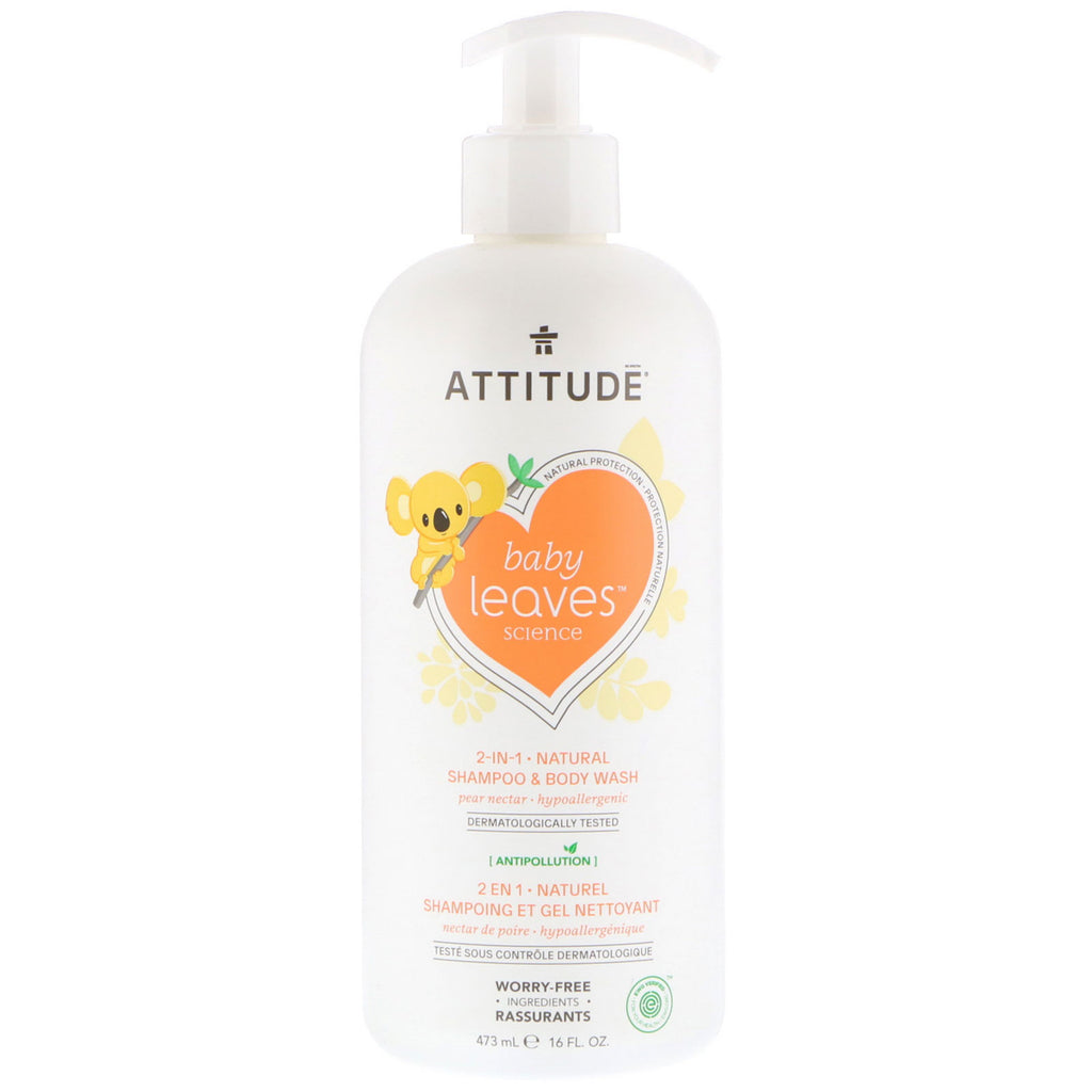 ATTITUDE, Baby Leaves Science, 2-In-1 Natural Shampoo & Body Wash, Pear Nectar, 16 fl oz (473 ml)