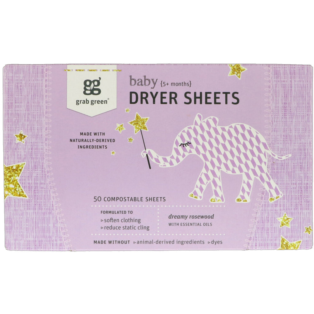 GrabGreen Dryer Sheets Baby Dreamy Rosewood with Essential Oils 5+ Months 50 Compostable Sheets