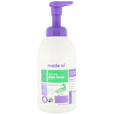 MADE OF, Foaming Dish Soap, Fragrance Free, 18 fl oz (532.32 ml)