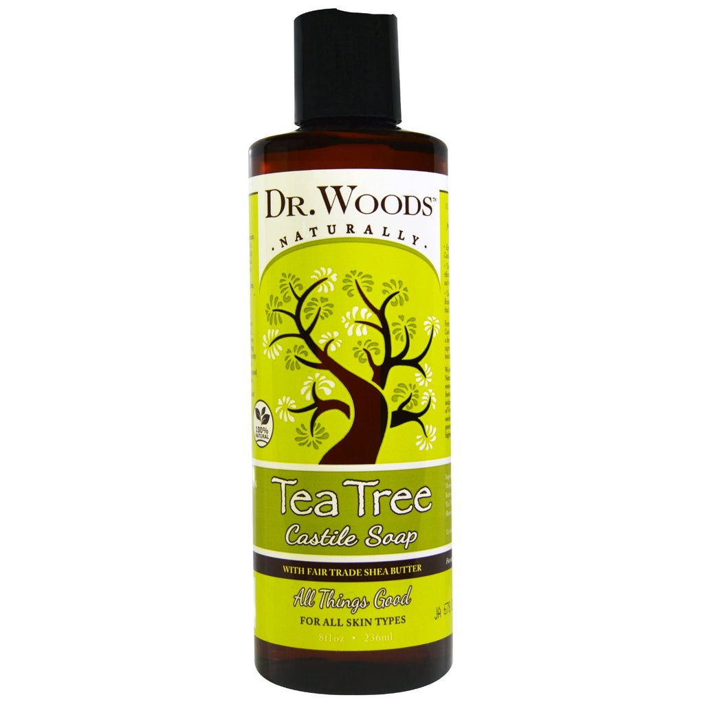 Dr. Woods, Tea Tree Castile Soap with Fair Trade Shea Butter, 8 fl oz (236 ml)