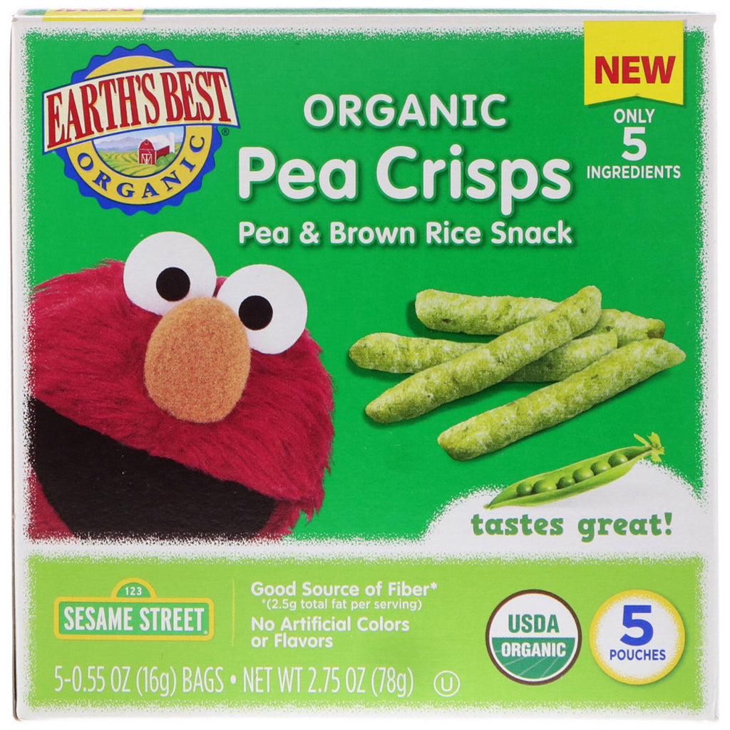 Earth's Best Sesame Street Organic Pea Crisps Pea & Brown Rice Snack 5 Pouches 0.55 oz (16 g) Each