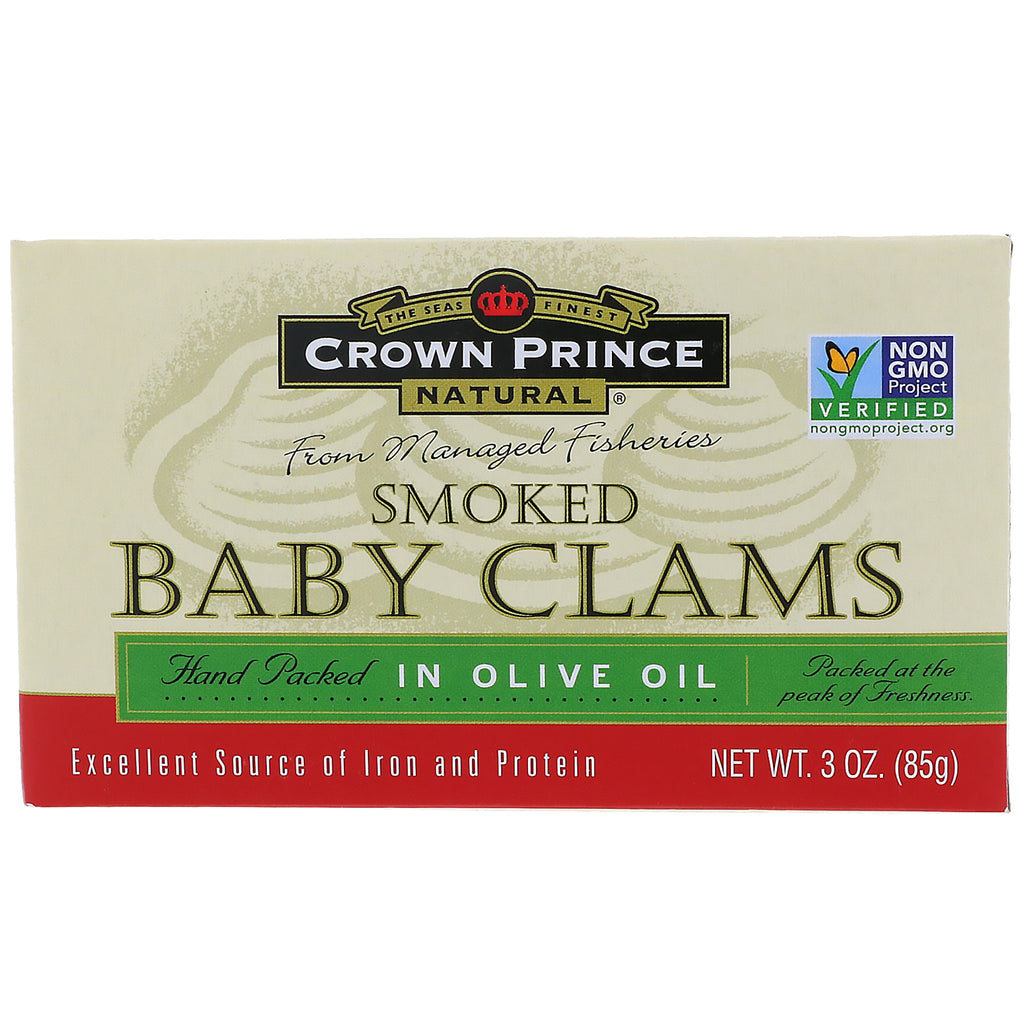 Crown Prince Natural, Smoked Baby Clams in Olive Oil, 3 oz (85 g)