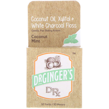 Dr. Ginger's, Coconut Oil, Xylitol + White Charcoal Floss, Coconut Mint, 32 yds (30 m)