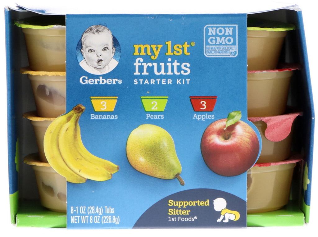 Gerber My 1st Fruits Starter Kit 1st Foods Bananas Pears Apples 8 Tubs 1 oz (28.4 g) Each
