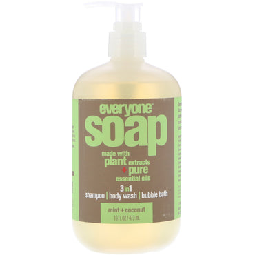 EO Products, Everyone Soap, 3 in 1, Mint + Coconut, 16 fl oz (473 ml)
