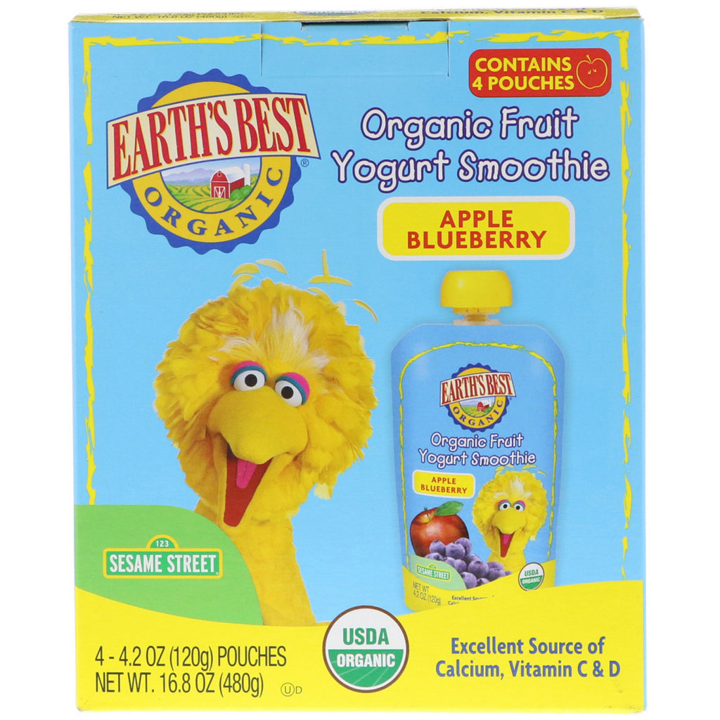 Earth's Best Sesame Street Organic Fruit Yogurt Smoothie Apple Blueberry 4 Pouches 4.2 oz (120 g) Each