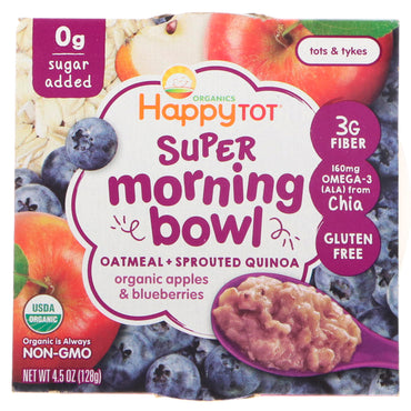 Nurture Inc. (Happy Baby) Happy Tot Super Morning Bowl Oatmeal + Sprouted Quinoa Organic Apples & Blueberries 4.5 oz (128 g)