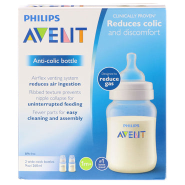 Philips Avent, Anti-Colic Bottle, 1 + Months, 2 Bottles, 9 oz (260 ml) Each