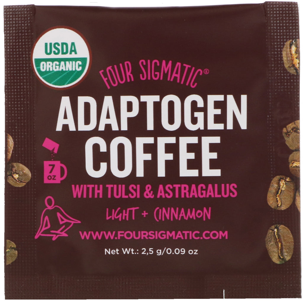 Four Sigmatic, Adaptogen Coffee Mix, Light + Cinnamon, 10 Packets, 0.09 oz (2.5 g) Each