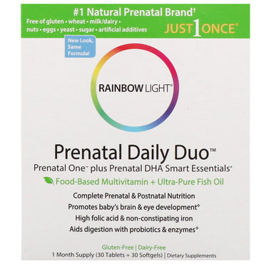 Rainbow Light, Prenatal Daily Duo, Prenatal One plus Prenatal DHA Smart Essentials, 1 Month Supply (30 Tablets + 30 Softgels)