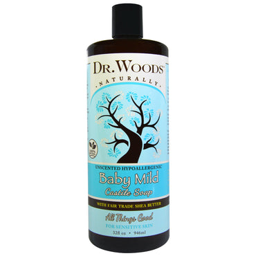Dr. Woods Baby Mild Castile Soap with Fair Trade Shea Butter Unscented 32 fl oz (946 ml)