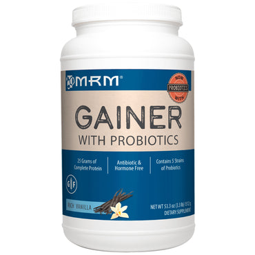 MRM, Gainer With Probiotics, Rich Vanilla, 3.3 lbs (1512 g)