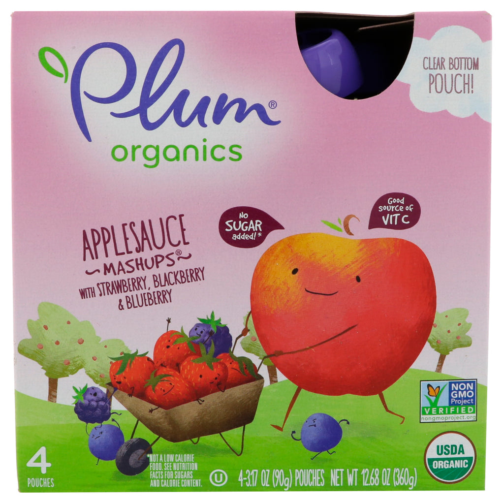 Plum Organics Organic Applesauce Mashups with Strawberry Blackberry & Blueberry 4 Pouches 3.17 oz (90 g) Each