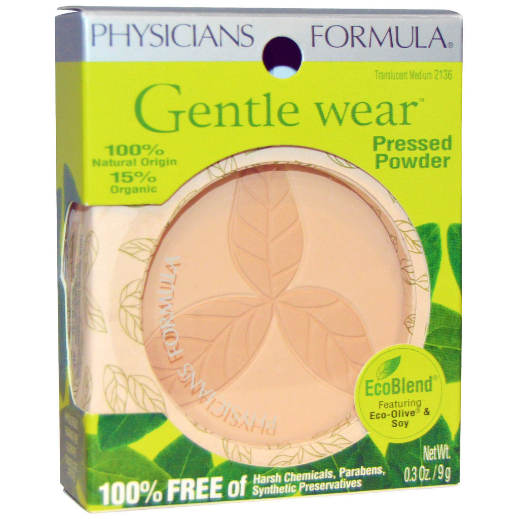 Physician's Formula, Inc., Gentle Wear, Pressed Powder, Translucent Medium, 0.3 oz (9 g)