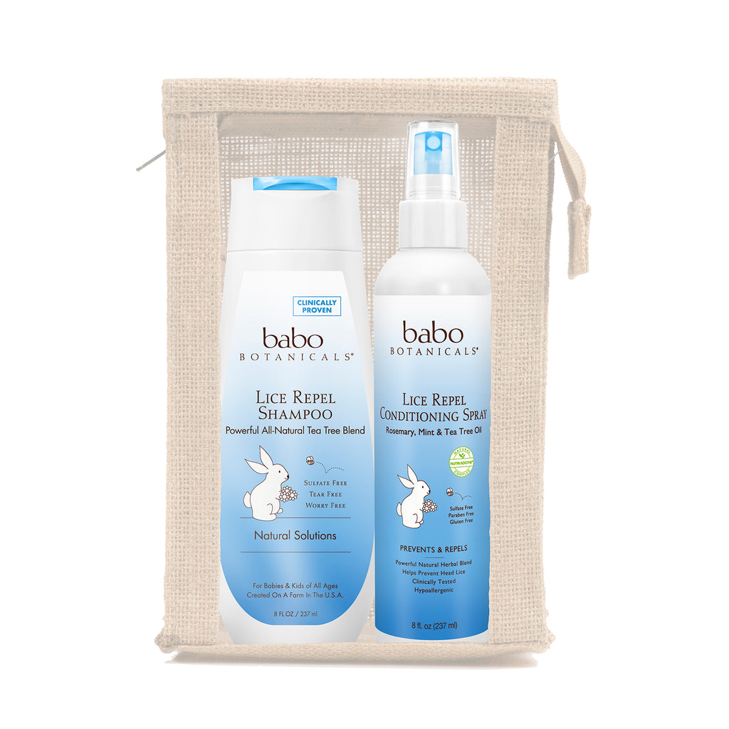 Babo Botanicals Lice Prevention Essentials Gift Set 2 Pieces Plus Nit