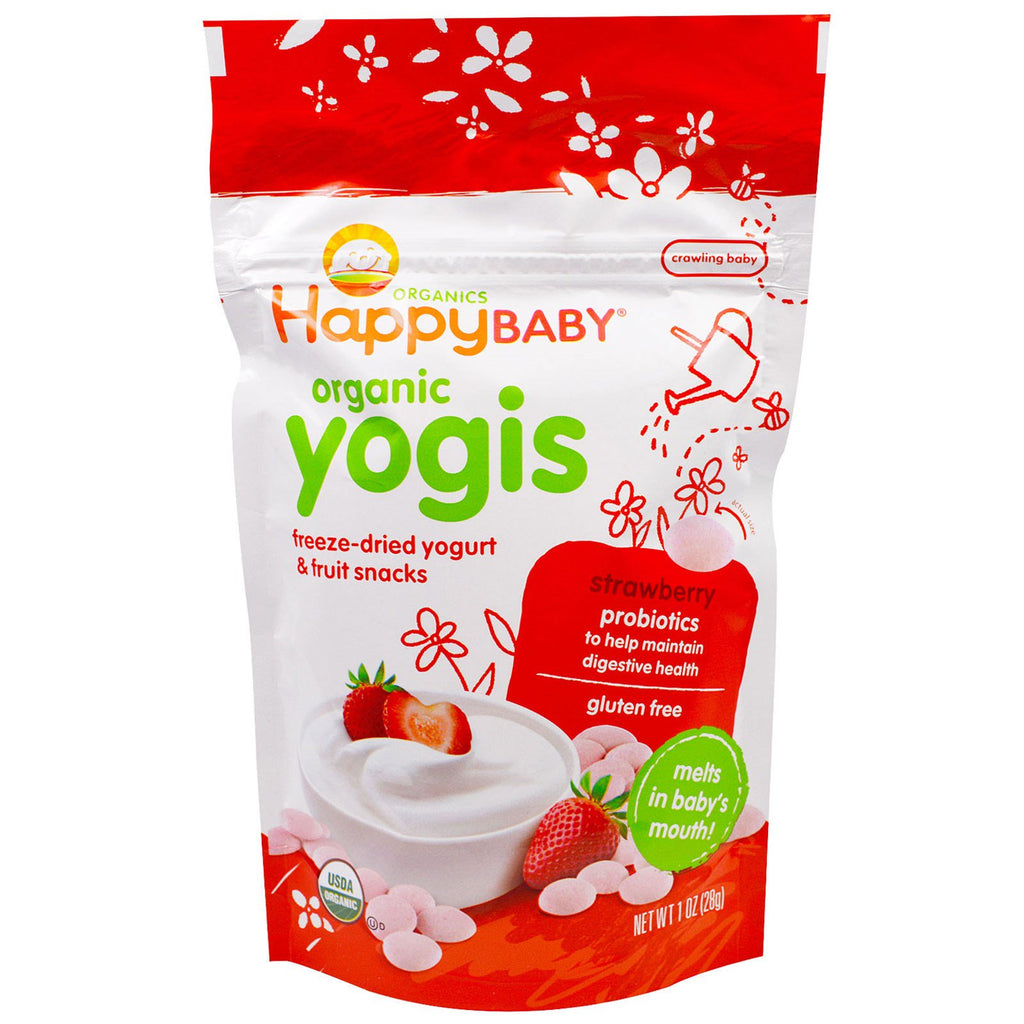 Nurture Inc. (Happy Baby) Organic Yogis Freeze Dried Yogurt & Fruit Snacks Strawberry 1 oz (28 g)