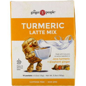 The Ginger People, Turmeric Latte Mix, Java Turmeric + Elephant Ginger , 10 Packets, 0.5 oz (15 g) Each