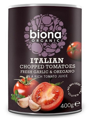 Biona Organic Chopped Tomatoes with Garlic and Oregano. (order in singles or 12 for trade outer)