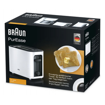 BRAUN Toaster | 2 Slice | White | Comfort Lift | 7 Brown