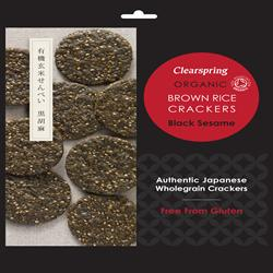 Organic Brown Rice Crackers - Black Sesame 40g (order in singles or 12 for trade outer)