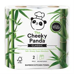 100% bamboo kitchen towel 2 rolls; 200 sheets per pack (order in singles or 5 for retail outer)