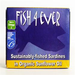 Whole Sardines in Organic Sunflower Oil 120g (order in singles or 10 for trade outer)