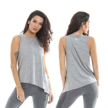 Golds Gym Ladies Angled Vest, XS / Grey