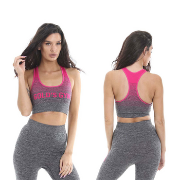 Golds Gym Ladies Seamless Vest, XS/S / Pink/Charcoal