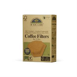 Coffee filters No. 2 small unbleached 100 filters (order in singles or 12 for trade outer)
