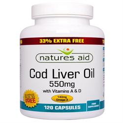 Cod Liver Oil - One-a-day - 550mg - 33% EXTRA FILL (order in singles or 10 for trade outer)