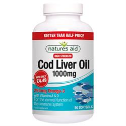 Cod Liver Oil (High Strength) 1000mg 90 Caps (order in singles or 10 for trade outer)
