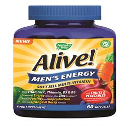 Alive! Men`s Energy Soft Jell Multi-Vitamin 60 Chewables (order in singles or 12 for trade outer)