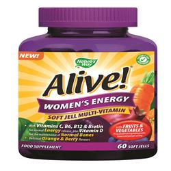 Alive! Women`s Soft Jells Multi-vitamin 60 Chewables (order in singles or 12 for trade outer)