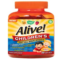Alive! Children`s Soft Jells Multi-vitamin 60 Chewables (order in singles or 12 for trade outer)