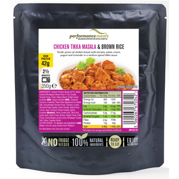 Performance Meals Protein Meal Pouch 350g / Chicken Tikka Masala & Brown Rice
