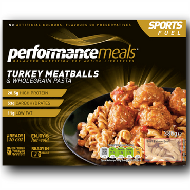 Performance Meals Protein Meal Tray 380g / Turkey Meatballs & Wholegrain Pasta