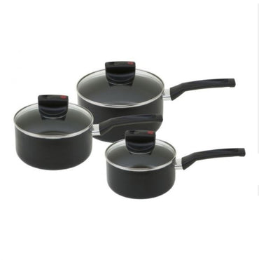 PRESTIGE Safe Cook | 3pc Set | Aluminium Saucepan | Black