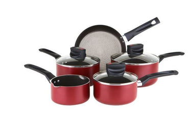 PRESTIGE Safe Cook | 5pc Set | Allum | Saucepan | Red