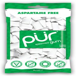 PUR Gum Spearmint Gum Bag 77g 55 pieces (order in singles or 12 for retail outer)