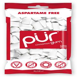 PUR Gum Cinnamon flavour Bag 77g 55 pieces. (order in singles or 12 for retail outer)