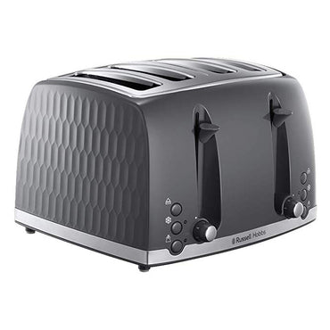 RUSSELL HOBBS Toaster | 4 Slice | Honeycomb | Grey