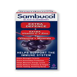 20% OFF Sambucol Extra Defence 120ml (order in singles or 24 for trade outer)