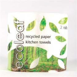 Ecoleaf 3 Ply Kitchen Towel Twin Roll Pack (order in singles or 12 for trade outer)