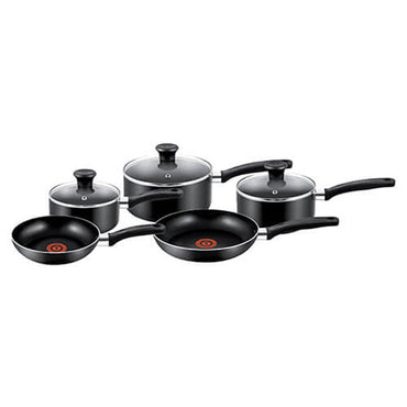 TEFAL 5 Piece Cookware Set | Essential | Blk | Alum