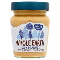 100% Peanuts Smooth Organic Peanut Butter 227g (order in singles or 6 for retail outer)