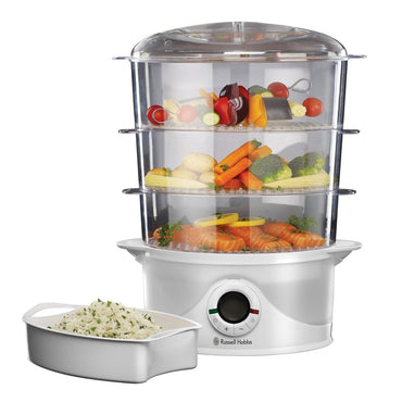 RUSSELL HOBBS 3 Tier Food Steamer,9l, 800w with Drip Tray