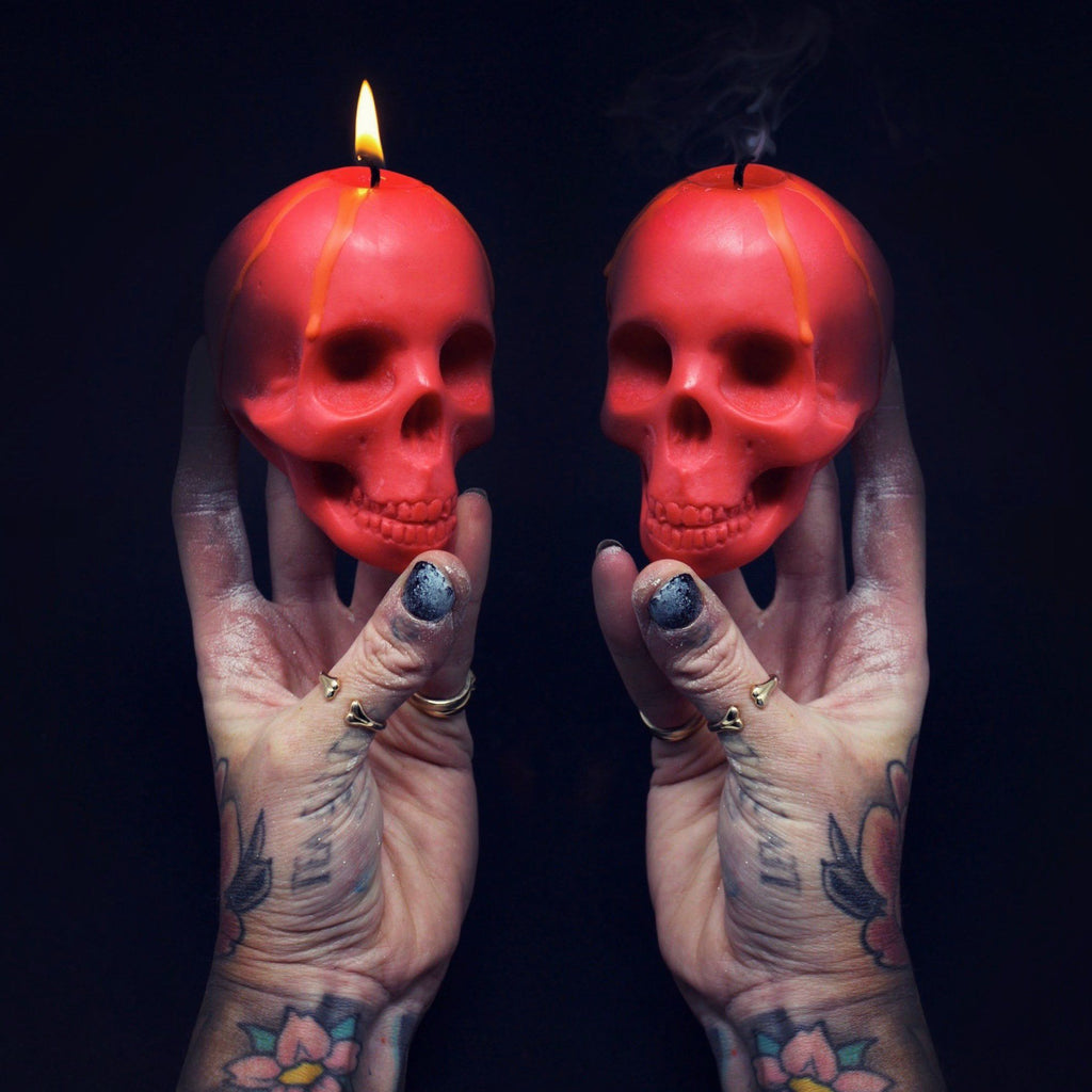blood red skull candle, skull candles, the blackened teeth