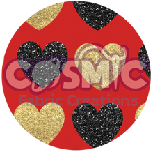 Load image into Gallery viewer, Black& Gold Glitter Hearts - Red background